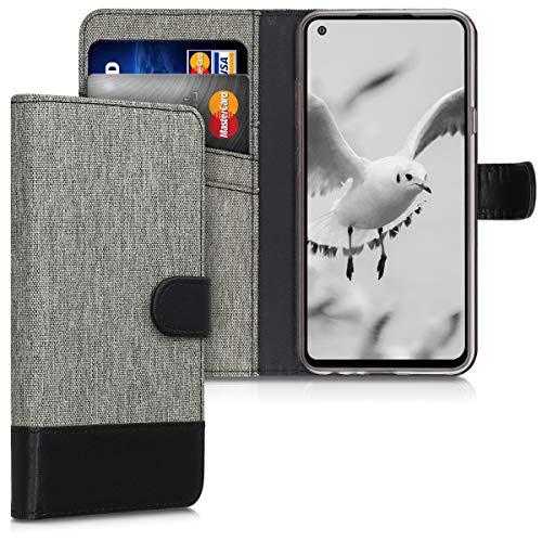 kwmobile Wallet Hülle kompatibel mit LG K51S - Hülle Kunstleder mit Kartenfächern Stand in Grau Schwarz