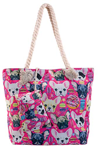 Dog Beach Shoulder Tote Bag - Dogs and Donuts Weekender Travel Bag - Comes with Quick Reach Zipper Pouch