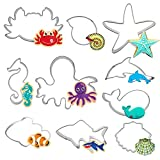Hangnuo 10 Set Unter dem Meer Ausstechformen Edelstahl Ozean-Kreaturen Ausstecher für Kekse, Fondant, Obst, Brot