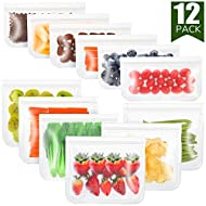 12 Pack FDA Grade Reusable Storage Bags (6 Reusable Sandwich Bags, 6 Reusable Snack Bags), Extra Thick Leakproof Silicone and Plastic Free Ziplock Lunch Bags Food Storage Freezer Safe (Transparent)