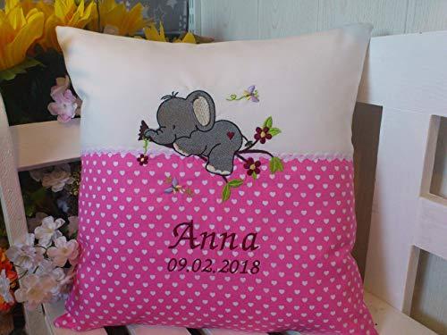 Kissen mit Namen zur Geburt (Elefant rosa)