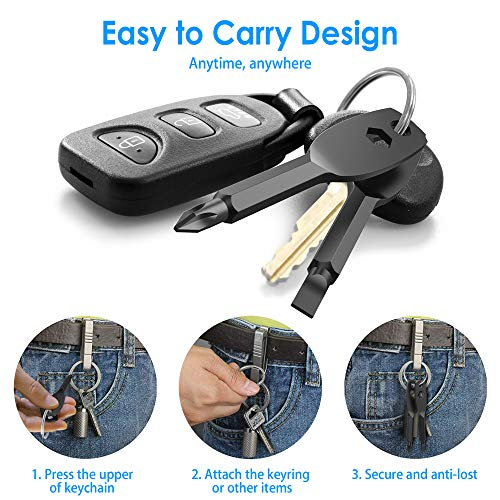 Portable Keychain Screwdriver 4-in-1 Multifunction Screwdriver set, EDC Pocket Screwdriver Consists of a Slotted Screwdriver and Phillips Screwdriver Hex Wrench Hand Repair Tool(Style two, black)