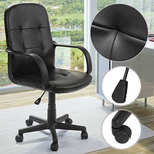 Ergonomische Bürodrehstuhl mit Armlehnen - stufenlos höhenverstellbar, aus Kunstleder, mit Sicherheitsdoppelrollen - Drehstuhl Bürostuhl Büromöbel Sitzmöbel Arbeitszimmer Büro Schreibtischstuhl