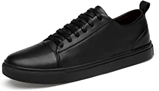XUJW-Shoes, Fashion Sneaker for Men Sport Shoes Round Toe Lace Up Durable Comfortable Walking Leather Suitable for Daily Walking Spring and Autunm Handiness (Color : Black, Size : 5.5 UK)