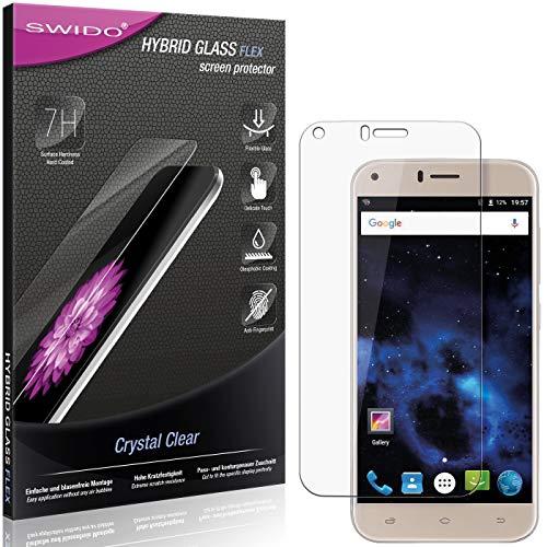 SWIDO Panzerglas Schutzfolie kompatibel mit UMIDIGI Diamond X Bildschirmschutz-Folie & Glas = biegsames HYBRIDGLAS, splitterfrei, Anti-Fingerprint KLAR - HD-Clear