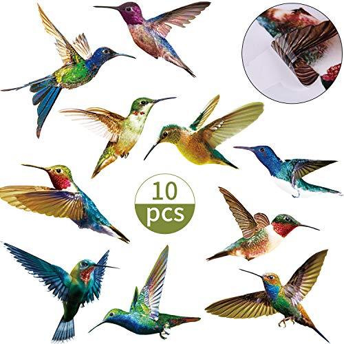 Boao 10 Stücke Kolibri Fenster Haftet Aufkleber Anti Kollision Fenster Hafte Vogel Alarmkollision Abziehbilder zur Vermeidung von Vogelschlägen auf Tür Fenster Scheiben