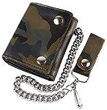 RFID Blocking Men's Tri-fold Vintage Biker Cowhide Top Grain Leather Steel Chain Wallet,Snap closure, Made In USA,Camouflage,ocf315