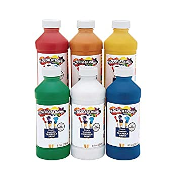 Colorations Simply Washable Tempera Paints 8 fl oz Set of 6 Colors Non Toxic Vibrant Bold Kids Paint Craft Hobby Arts & Crafts Fun Art Supplies Assorted Set