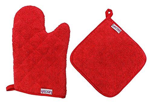 Lavlish - Juego de manoplas para horno y ollas (100% algodón), color rojo