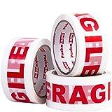 3 Rolls Packatape 48MM x 66M Fragile Packaging Tape