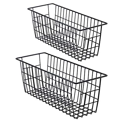 iPEGTOP Metal Wire Storage Organizer Bin Basket 2 Pack Toilet Paper Holder Narrow Storage Organizer for Bathroom Kitchen cabinetsPantry Laundry Room Closets Garage - Black