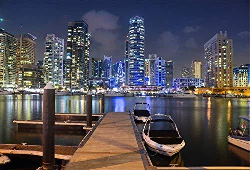 EdCott 10x8ft City Night Marina Kulisse Vereinigte Arabische Emirate Mondlicht Modern Cityscape Wolkenkratzer Skyline Wahrzeichen Boote Dock Pier Hintergrund für Fotografie Fotostudio Requisiten