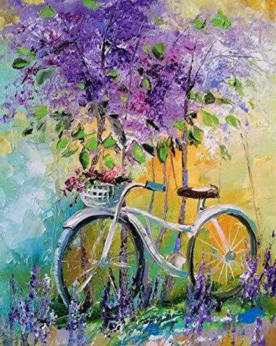 iCoCofly Juego de accesorios de pintura de diamantes 5D para decoración de pared y entrada, diseño de bicicleta con flores moradas, 30 x 40 cm