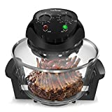 NutriChef 1000W Air Fryer, Roaster Oven, Bake, Grill, Steam 18 Quart - Black