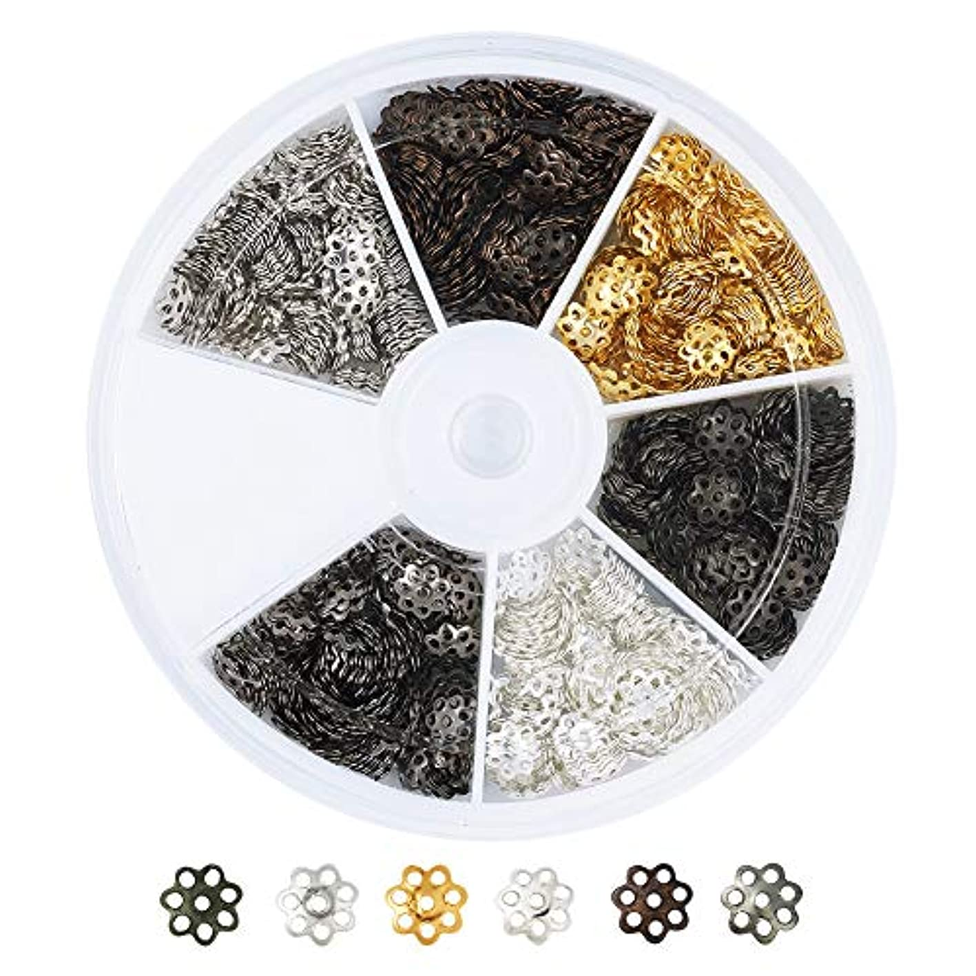 Pandahall 1200pcs/box 6 Colors Iron Filigree Flower Bead Caps End Caps 6mm in Diameter for Jewelry Making with a 6-Grid Container pvxnazcdbwc680