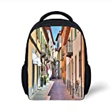 Kids School Backpack City,Town of Alba Piedmont Northern Italy Narrow Stone Paved Street Among Colorful Houses, Plain Bookbag Travel Daypack