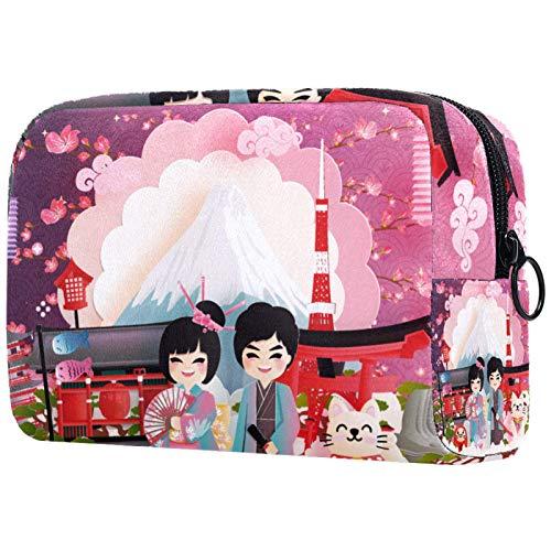Neceser Maquillaje Portátil Bolsa de Maquillaje Ligera Bolsillos Profesional Organizador de Maquillaje Bolso de Cosméticos de Viaje Japón 18.5x7.5x13cm