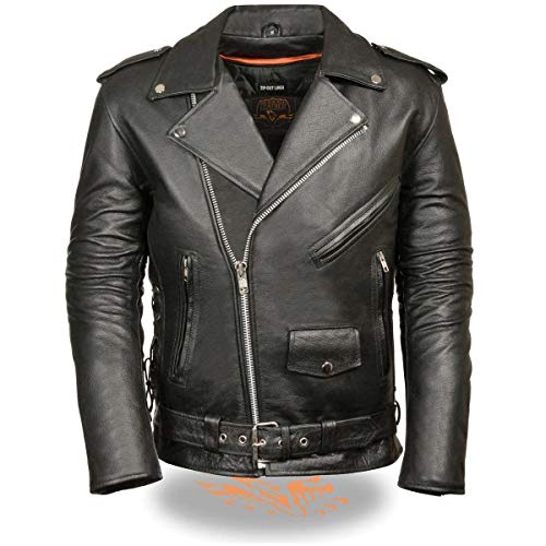 Milwaukee Leather SH1011 Men's Classic Side Lace Police Style Motorcycle Leather Jacket - 3X-Large