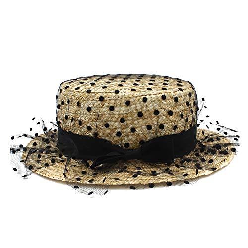 CHENDX Sombrero, Playa Sombrero para el Sol Primavera Verano Señora Flor Cúpula Sombrero Sombrero de Viaje al Aire Libre de Rafia Transpirable Casual Arco Crepe Hermosa Chica Gorra Mod