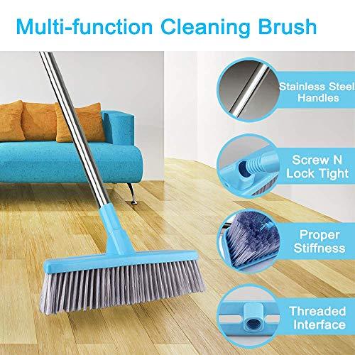 Floor Scrub Brush with Adjustable Long Handle – 51 inches, Stiff Bristles, Indoor Outdoor Broom for Cleaning Bathroom…