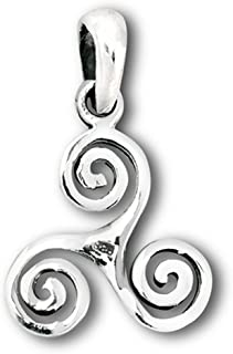 Trinity Triskelion Pendant Sterling Silver Spiral Trinacria Triple Swirl Charm - Silver Jewelry Accessories Key Chain Bracelet Necklace Pendants