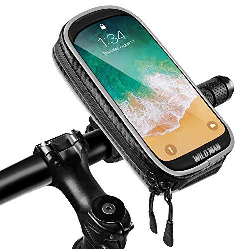 ENONEO Supporto Bici Smartphone Impermeabile Supporto Manubrio Moto Smartphone con Sensibile Touchscreen Supporto Moto MTB (Cellulari sotto 6,6 Pollice)(Negro 1)