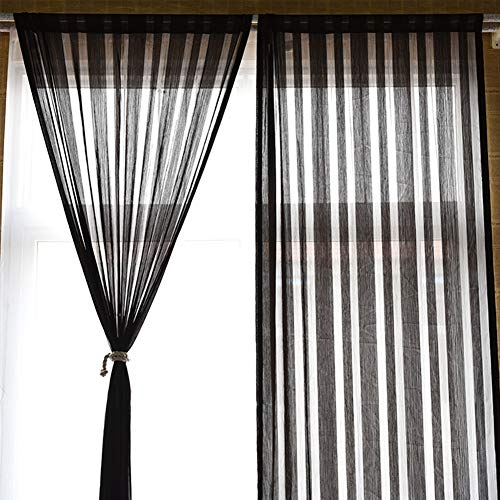 FSYGZJ Gestreifte Gardinen Voile Transparent 1 Panels 130x240cm, Klassik Massiv Gardinen Voile Schlafzimmer Ultra-Semi Transparent Windows-Rod-Taschen Balkon Hergestellt Privacy Protected,130 * 240cm