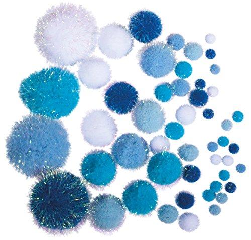 Rayher 76529000 Metallic-Pompons, 50 Stück, versch. Größen, sortiert, blau/weiß