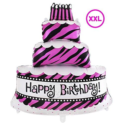 DIWULI, gigantischer XXL Torten-Ballon Happy Birthday, Kuchen Folien-Luftballon, Geburtstagsballon lustig, Pinker Folien-Ballon, Geburtstag, Mädchen Kindergeburtstag, Party, Dekoration, Geschenk-Deko