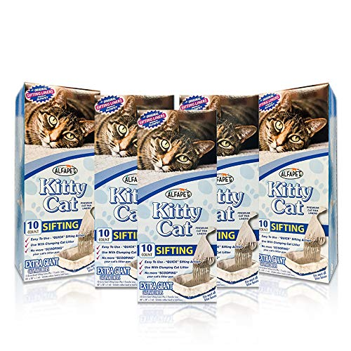 Alfapet Kitty Cat Pan Disposable Sifting Liners 10Pack  1 Transfer Linerfor Large XLarge Giant ExtraGiant Size Litter BoxesIncluded Rubber Band for Firm Easy Fit  Pack of 5
