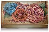 Anuschka Women's Genuine Leather Clutch Wallet   Hand painted Original Artwork   Lush Lilac Bronze