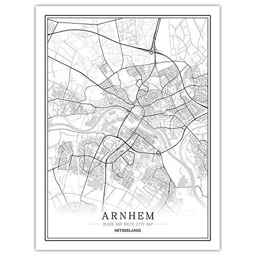 Impresión De Lienzo,Mapa De La Ciudad De Arnhem Holanda Simple Cartel Mural En Blanco Y Negro De Arte Pop Pintura Minimalista Modular Vertical Del Espacio De Oficina Viva Arte Personalizada Decoraci
