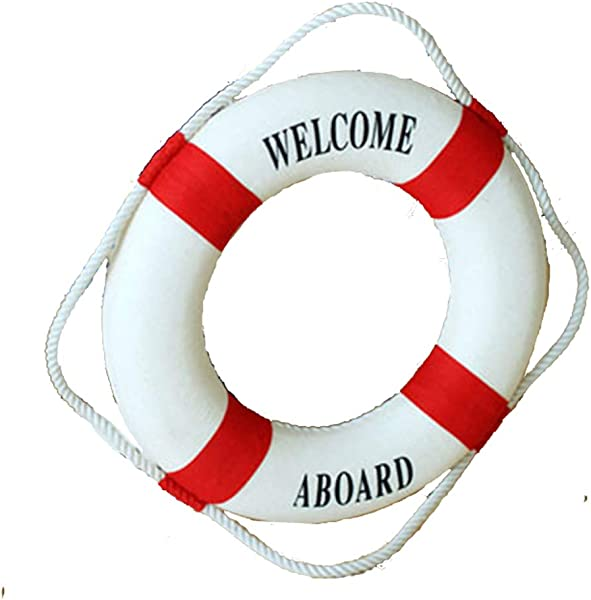 HugeHug Welcome Aboard Lifebuoy Wall Hanging Mediterranean Style Navy Nautical Room Decor Home Decoration Red 20