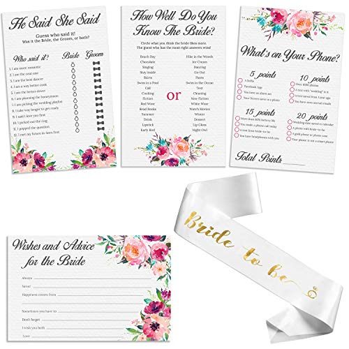 """Set of 4 Vintage Watercolor Flower Themed Bridal Shower Game Card Packs with White and Gold Satin """"Bride to Be"""" sash. - 5.5 x 8.5 Inches - 50 Sheets Each Game (200 Total)"""
