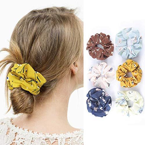 Genglass Élastiques chouchous en mousseline de soie élastiques à cheveux fleur rose cheveux accessoires pour femmes et filles pack de 6