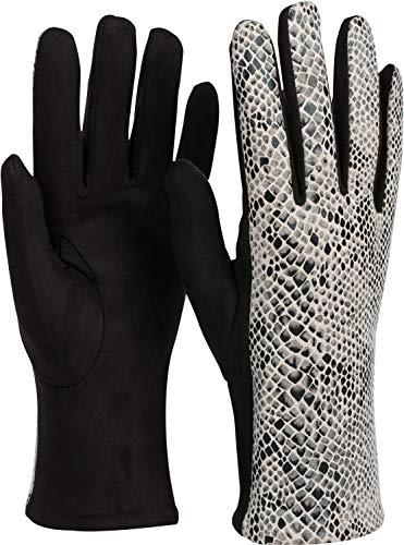 styleBREAKER Damen Handschuhe mit glänzender Schlangen Optik und Fleece Futter, Fingerhandschuhe, Winter 09010023, Farbe:Schwarz-Weiß