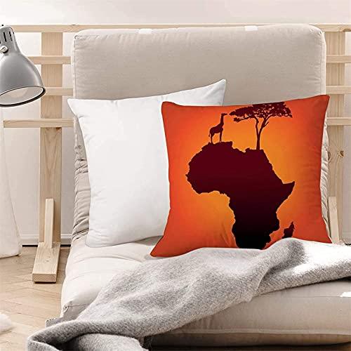 Cojín de suelo super cómodo Cubiertas de cojín (45 x 45 cm) - Poliéster, Africano, Mapa de Safari con continente Jirafa y Silueta de árbol Savanna, suave y liso, Lavable, Cuadro de almohada de