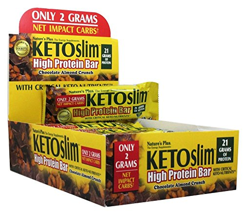 NaturesPlus KETOSlim Chocolate Almond Crunch Bar (12 Pack) - 2.1 oz Bars - Whole Food Low Carb Protein Bar, Perfect for Keto, Low Glycemic & Diabetic Lifestyles - Gluten-Free - 12 Servings
