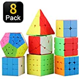 STEAM Life Educational Speed Cube Set 8 Pack Magic Cube | Includes Speed Cubes 3x3, 2x2 Pyramid Cube, Speed Cube, Plus Bonus Puzzle Cube Puzzles Bundle