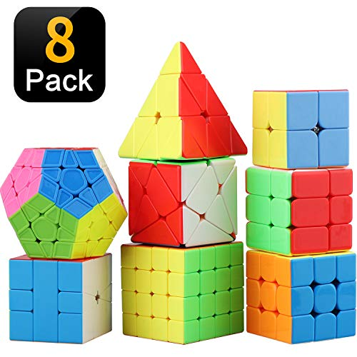 STEAM Life Educational Speed Cube Set 8 Pack Magic Cube | Includes Speed Cubes 3x3, 2x2 Speed Cube, Pyramid Cube, Plus Bonus Puzzle Cube Puzzles Bundle