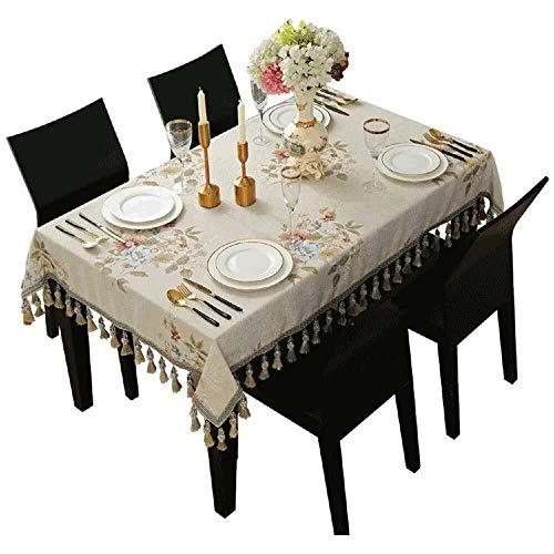 LGQBH - Mantel nacional cuadrado de mesa rectangular pequeño salón mesa de café mesa comedor mesa tapizado borla colgante, 120 x 120 cm