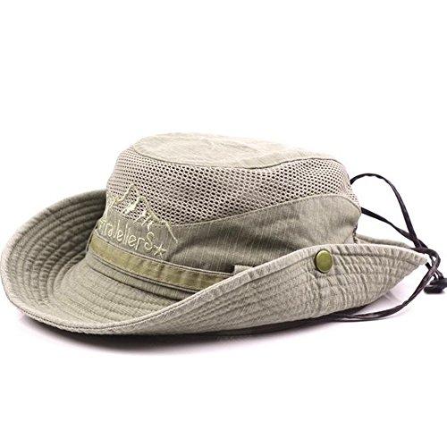 Obling Sonnenhut Herren UV Schutz Atmungsaktiv Quick Dry Fischerhut Hiking Strand Faltbar Safari Buschhüte Hut (Khaki)