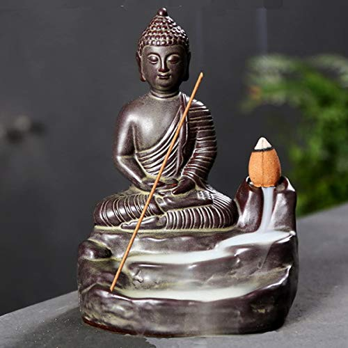 OTOFY Handmade Ceramic Incense Holder, Backflow Incense Burner Figurine Incense Cone Holders Home Decor Gift Decorations Statue Ornaments (Buddha)
