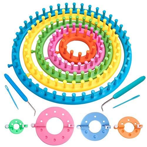 Juego de telares de tejedor,juego de telares de punto redondo de 5 tamaños Fabricante de sombreros Scraf,tejido de punto redondo de plástico con fabricante de pompones de tamaño 4 y aguja y gancho