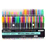Lot de 60 stylos gel à paillettes multicolores pour livres de coloriage pour adultes, coloriage et coloriage, avec de superbes couleurs métalliques, néon, paillettes, stylos à encre gel (60 couleurs)