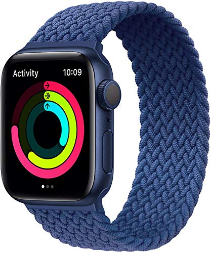 H&S Stretchy Solo Loop Braided Strap Compatible for Apple Watch Elastics Soft Stretch Sport Band 38mm 40mm 42mm 44mm for Men Women Girls with Series SE/6/5/4/3/2/1 Braided Replacement Wristbands