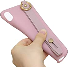 TX GIRL-Phone Case Case with Wristband for Huawei Honor 7C Shockproof Unanimous Colour TPU Durable and Wear Resistant (Color : Pink)