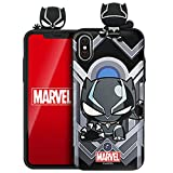 Marvel Avengers Figure Mirror Card Case for Samsung Galaxy S8+ Plus (Black Panther)