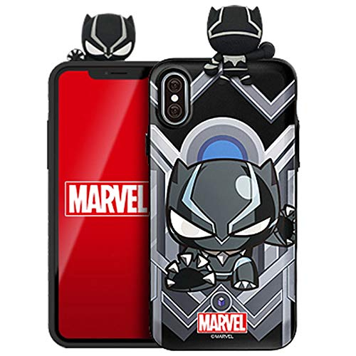 Figure Mirror Card Case with Avengers Character for iPhone 11 (Black Panther)