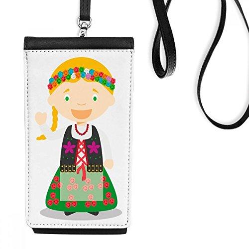 DIYthinker Glimlach Blond Polen Cartoon Faux Leer Smartphone Hangende portemonnee Zwart Telefoon Portemonnee Gift